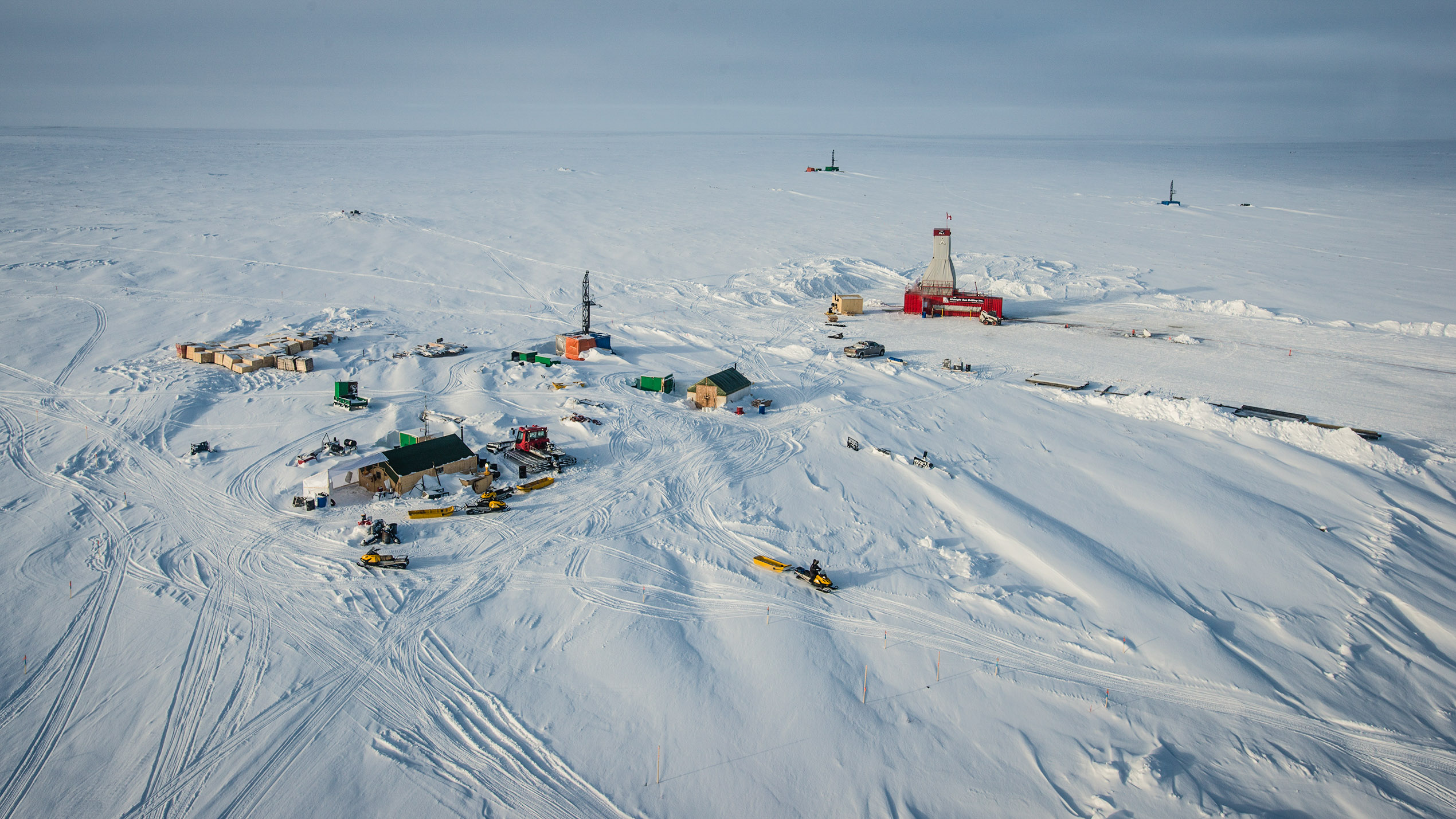 A 2015 aerial view of the Kelvin Camp diamond exploration site near Gahcho Kue mine - Pat Kane