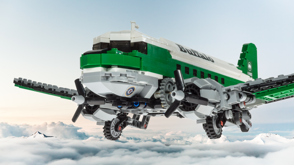 A Buffalo Airways model made out of Lego