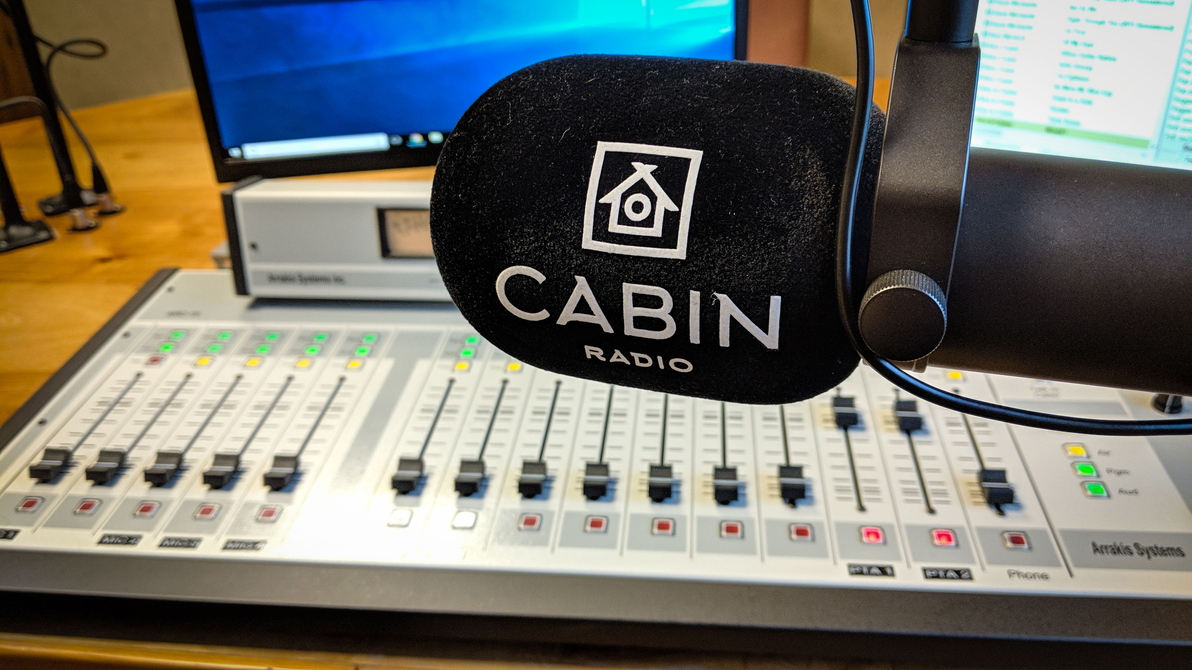 A Cabin Radio microphone in Studio 1