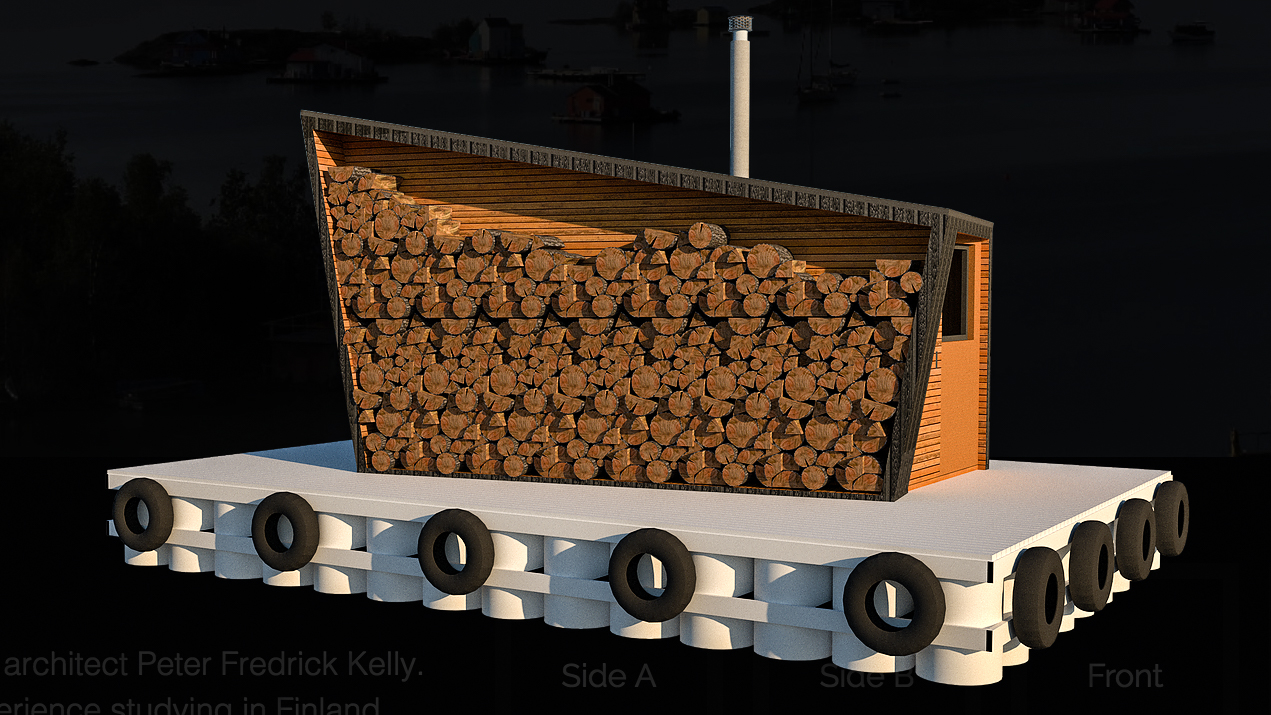 A computer-generated graphic depicts a floating sauna intended for construction on Yellowknife Bay