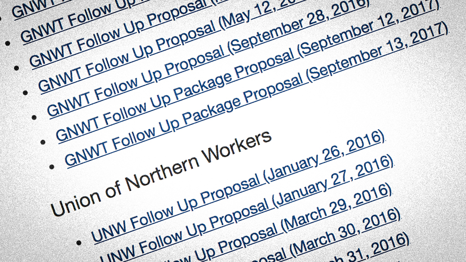 A screenshot shows a succession of GNWT and UNW collective bargaining proposals over three years of negotiations.