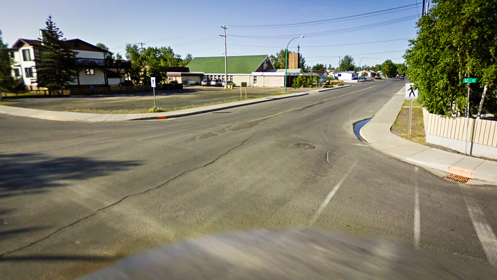 Google Streetview rendering of the intersection between Yellowknife's 52 St and 52 Ave