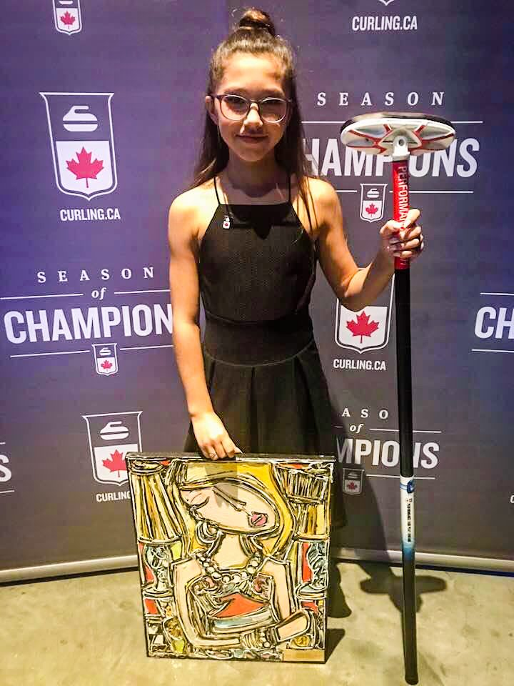 Inuvik curler Pearl Gillis with sportsmanship and fair play awards won at the 2018 Canadian Junior Championships - Nick Saturnino