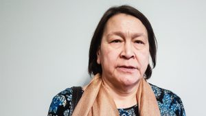 Kathy Meyer appears at Yellowknife hearings for the National Inquiry into Missing and Murdered Indigenous Women and Girls in January 2018 - Jesse Wheeler-Cabin Radio