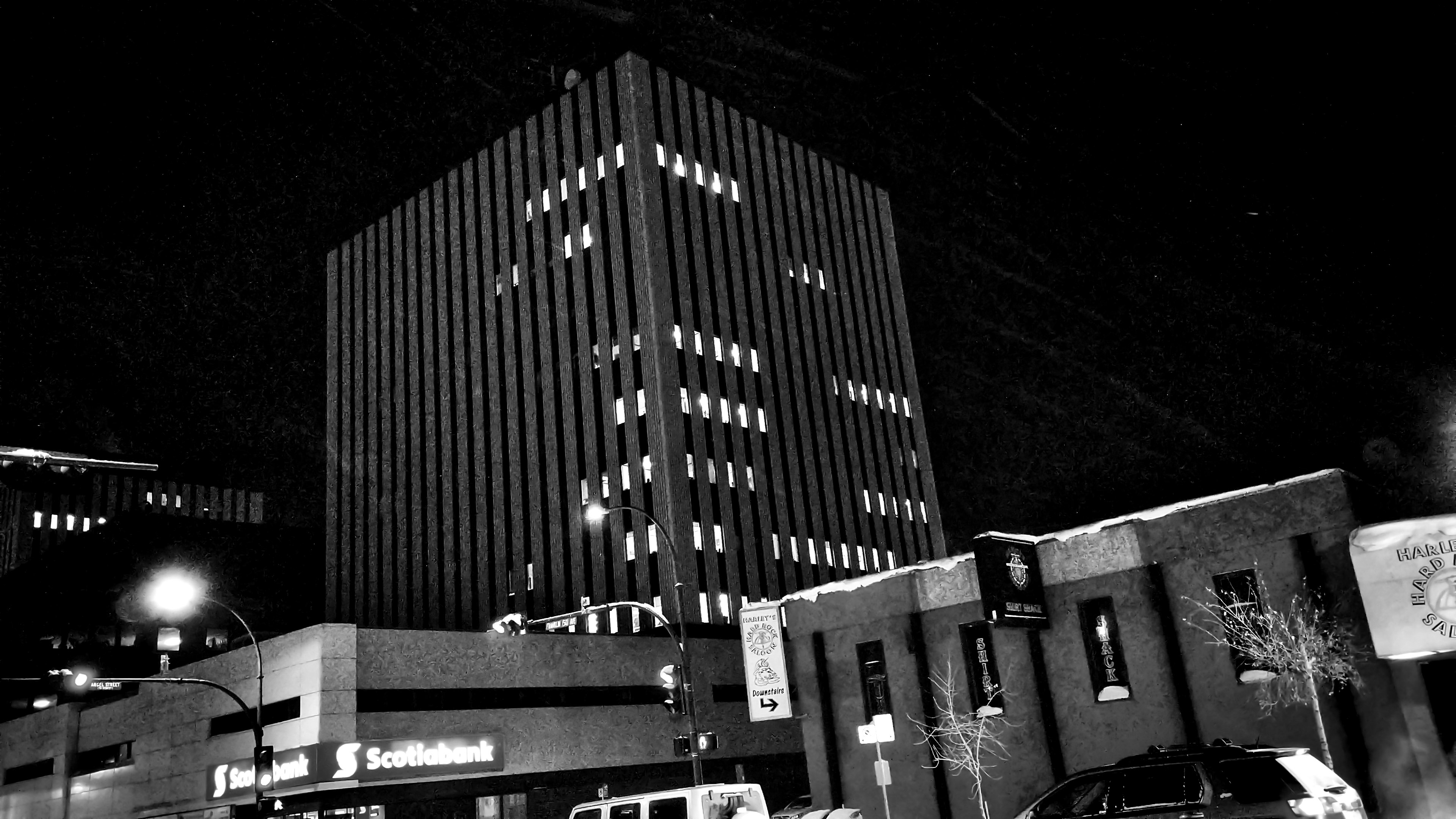 Lights remain on at Yellowknife's Scotia Centre, home to several territorial government departments, on the evening of January 31, 2018