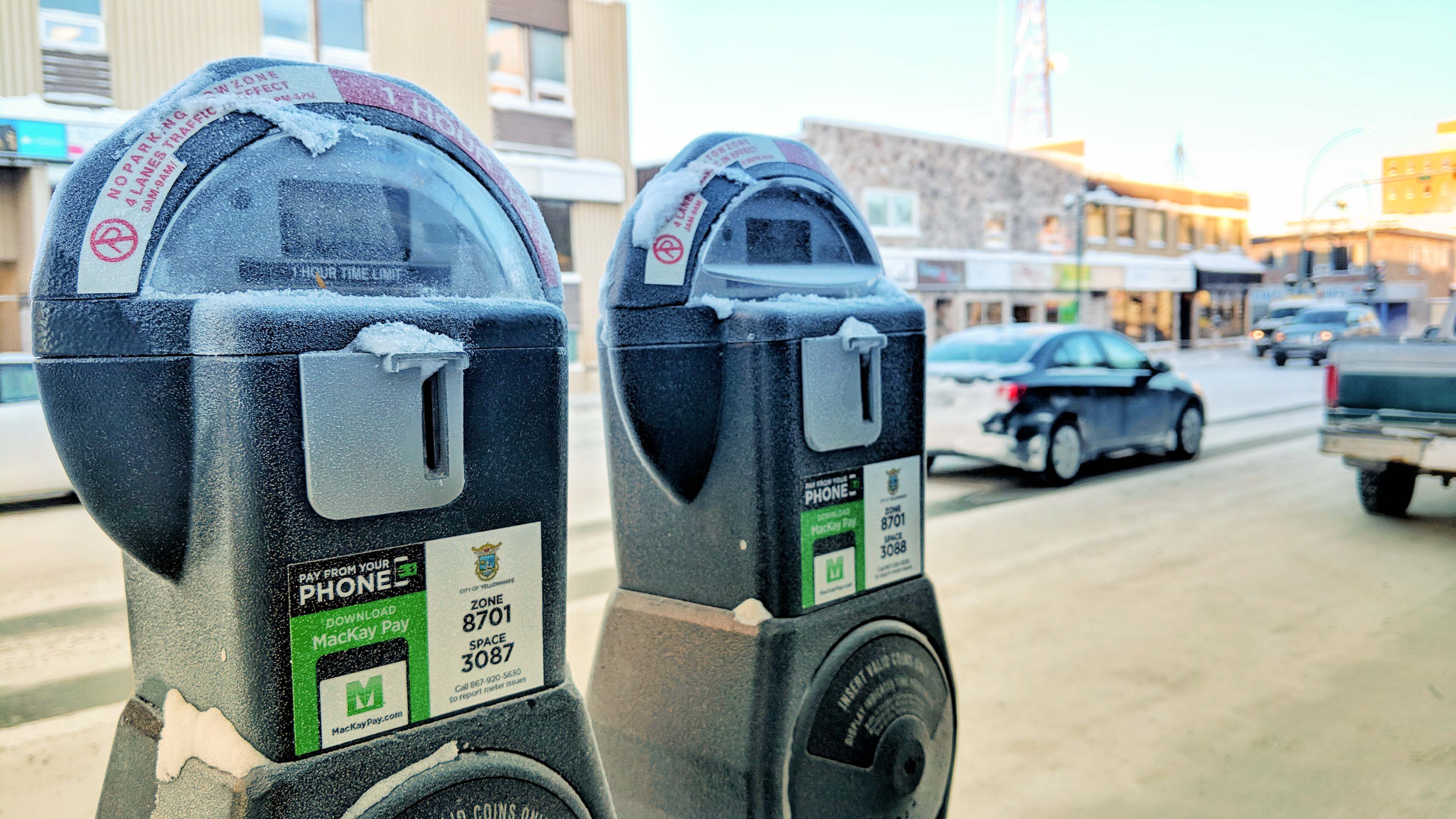 Parking meters in downtown Yellowknife on January 9, 2018