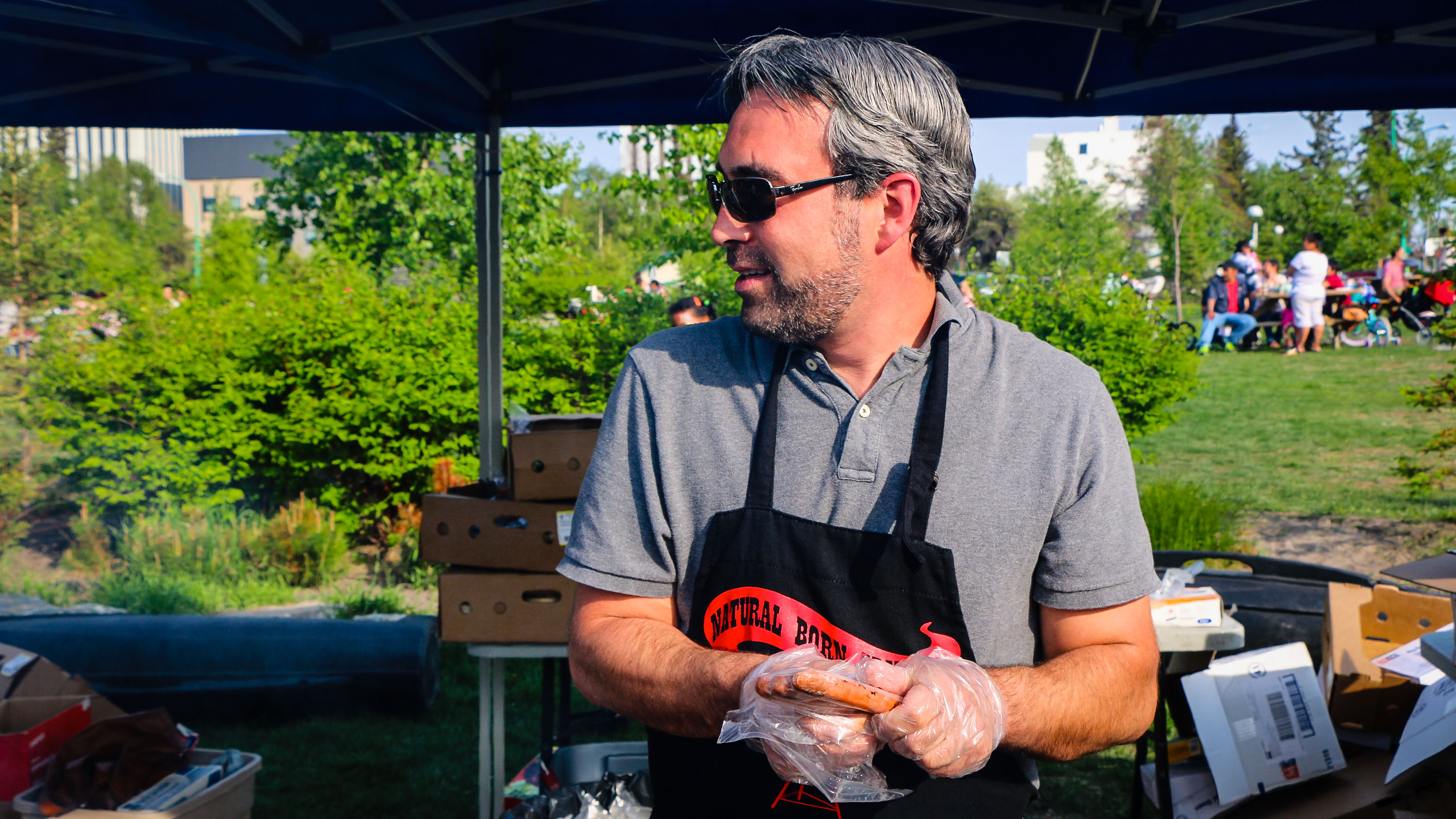 Mark Heyck, mayor of Yellowknife, pictured grilling hot dogs in summer 2015 at a city event