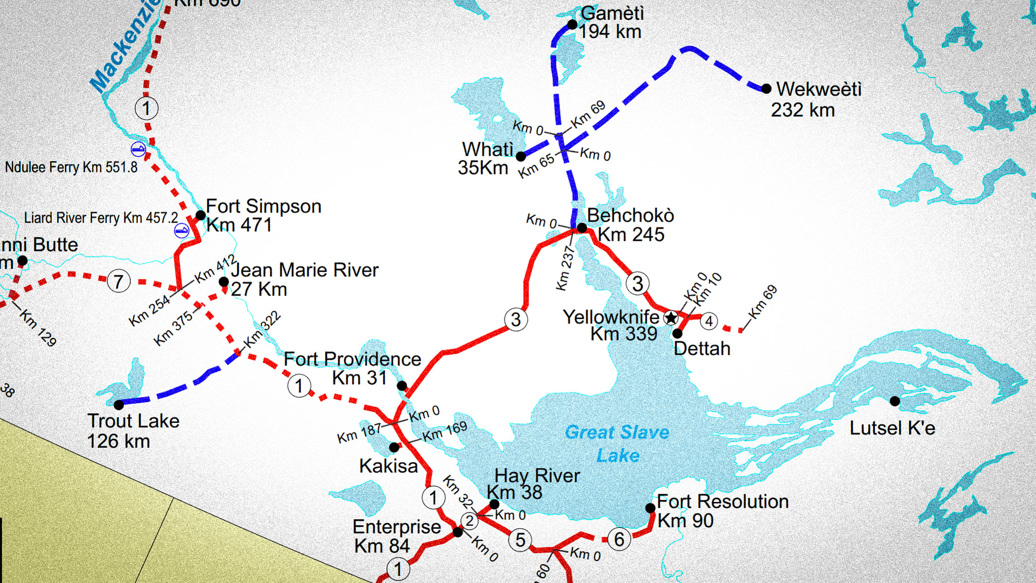 A graphic showing highways and kilometre markers of the NWT
