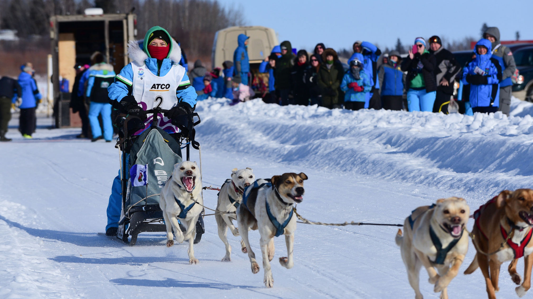 Kale Beck competes in dog mushing at the 2018 Arctic Winter Games - AWG-Brian Collins