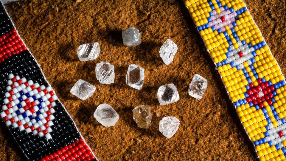 Rough diamonds at the Diavik diamond mine - Rio Tinto