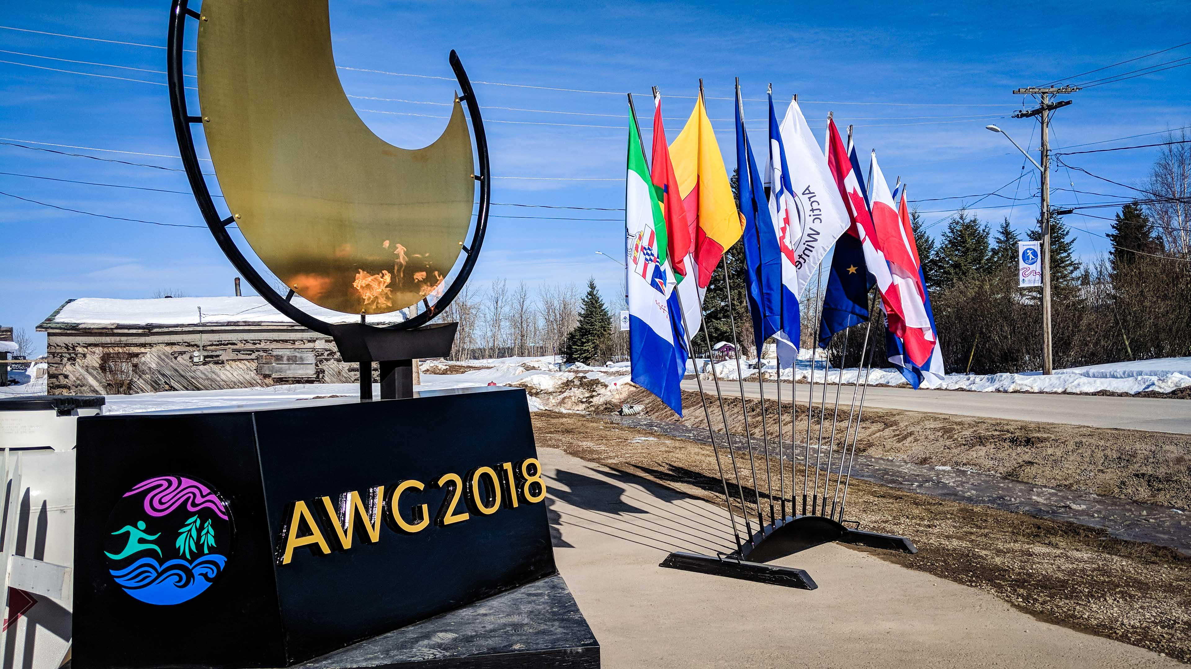 The Arctic Winter Games flame burns in Fort Smith
