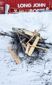 Cabin Winter Games wood pile