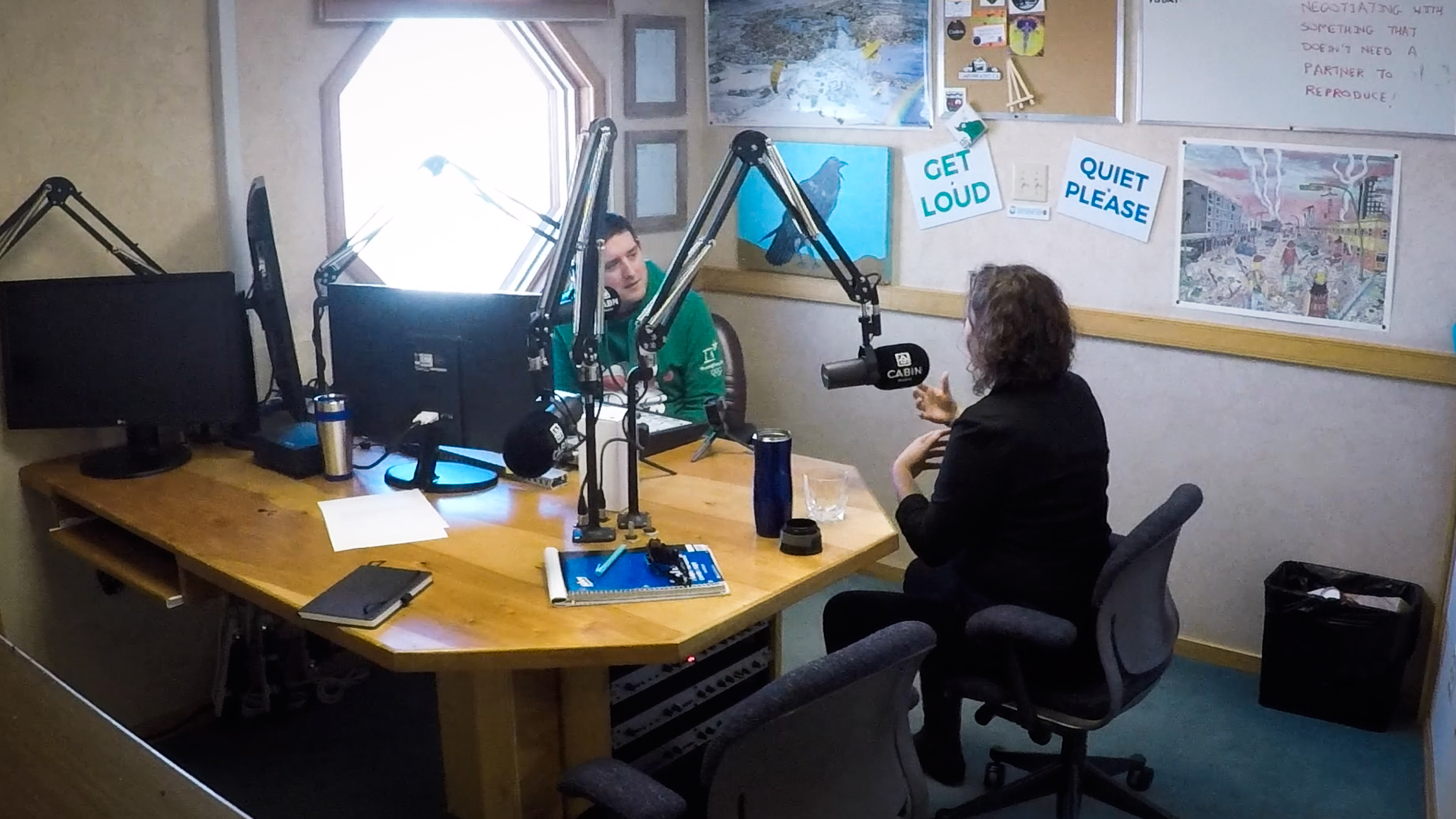 Cabin Radio's Ollie Williams interviews Rebecca Alty in April 2018