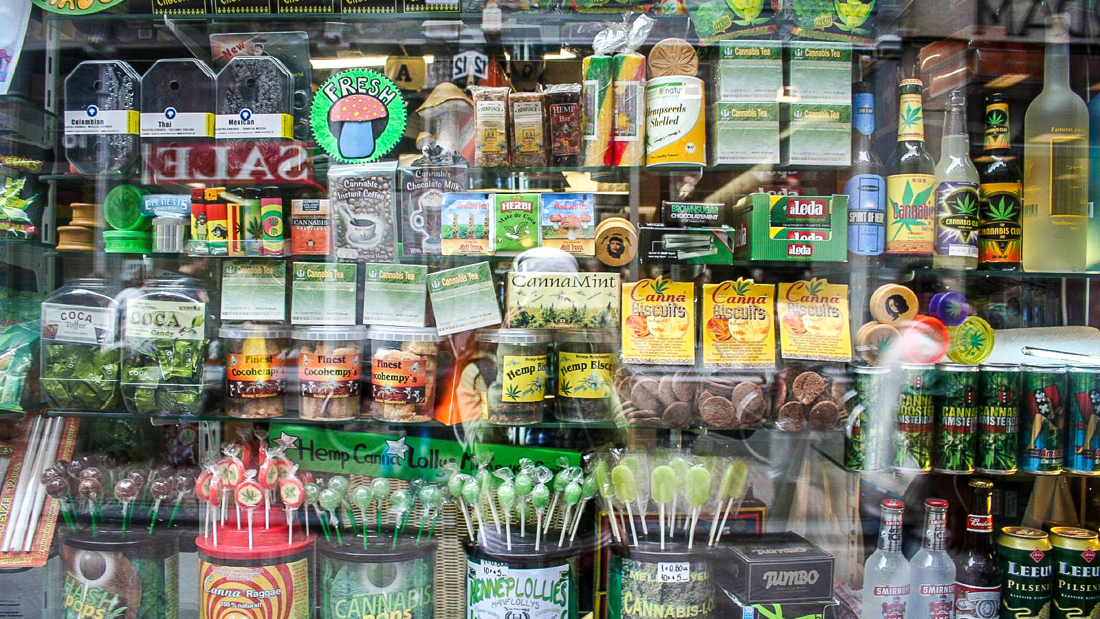 Cannabis products in the window of an Amsterdam store - nickolette-Wikimedia
