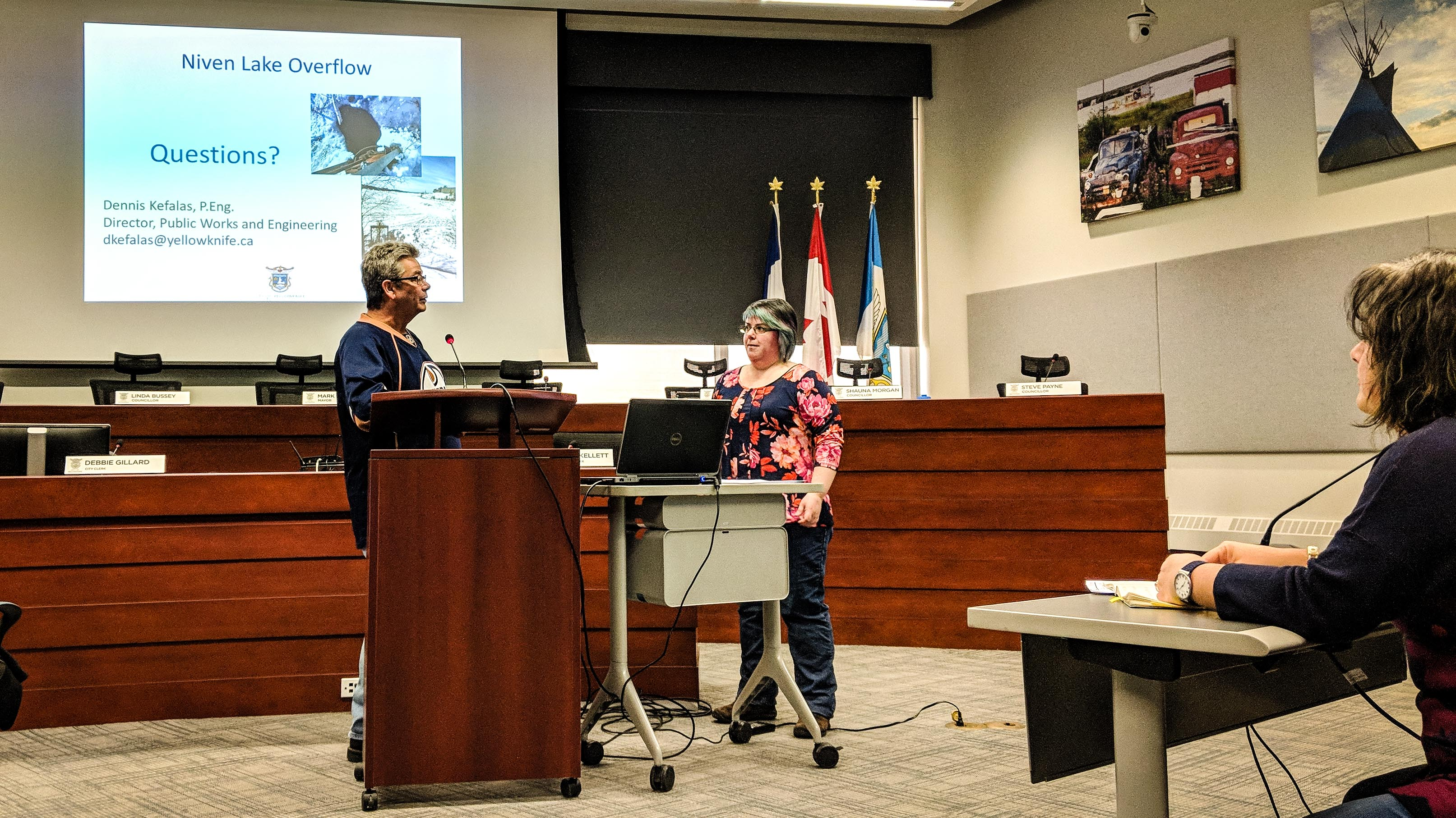 Engineering manager Wendy Alexander, centre, takes questions during a public meeting on April 12, 2018