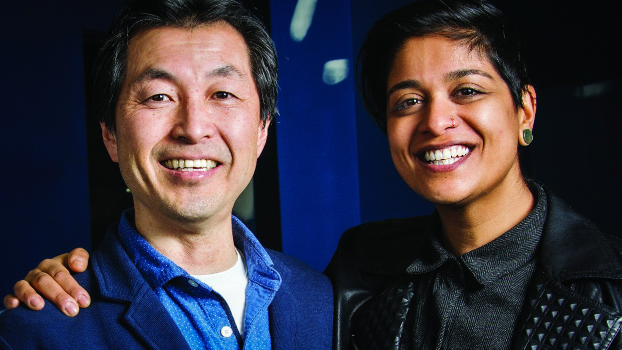 Ja-Pain owner Seiji Suzuki poses with the City of Yellowknife's Iman Kassam in a promotional photo issued by the City