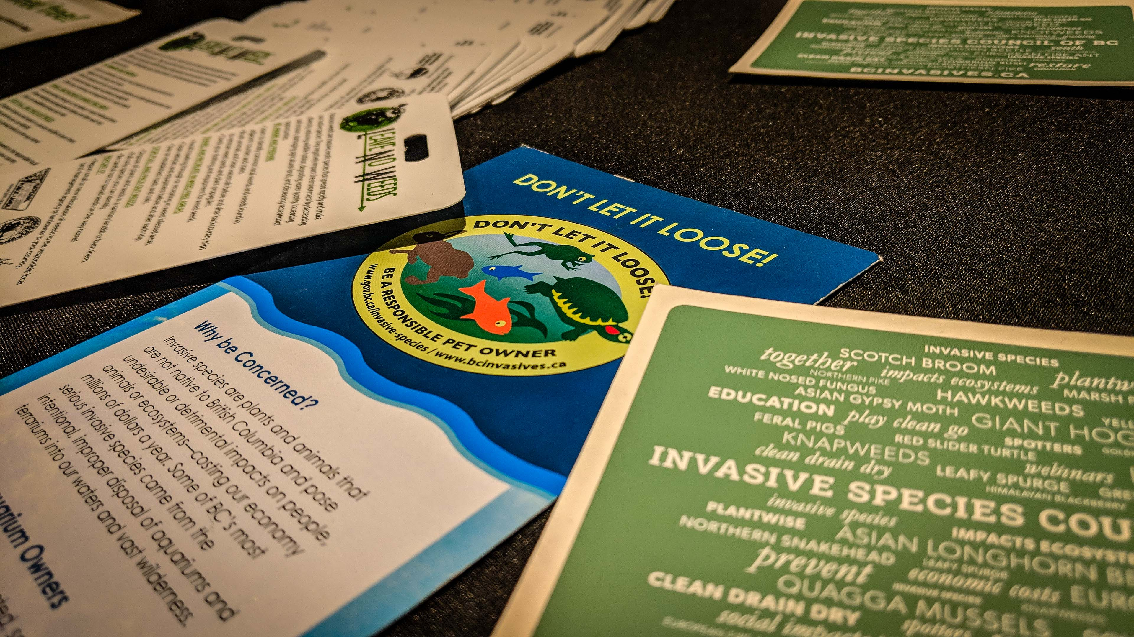 Leaflets warning against the proliferation of invasive species on a table at a pests and pathogens conference in Yellowknife