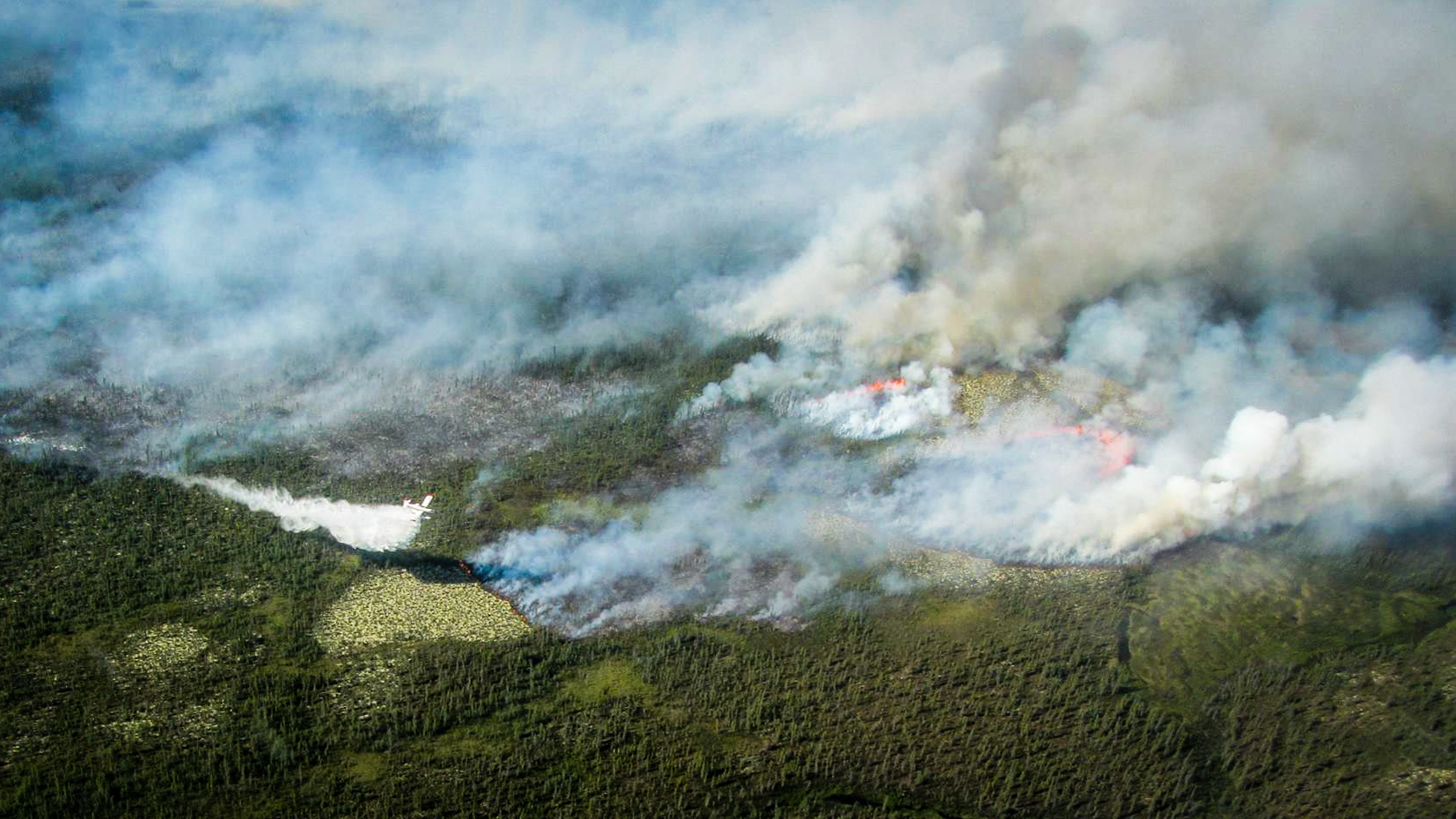 A wildfire burns near Fort Good Hope in an image posted online by the territorial government in July 2017