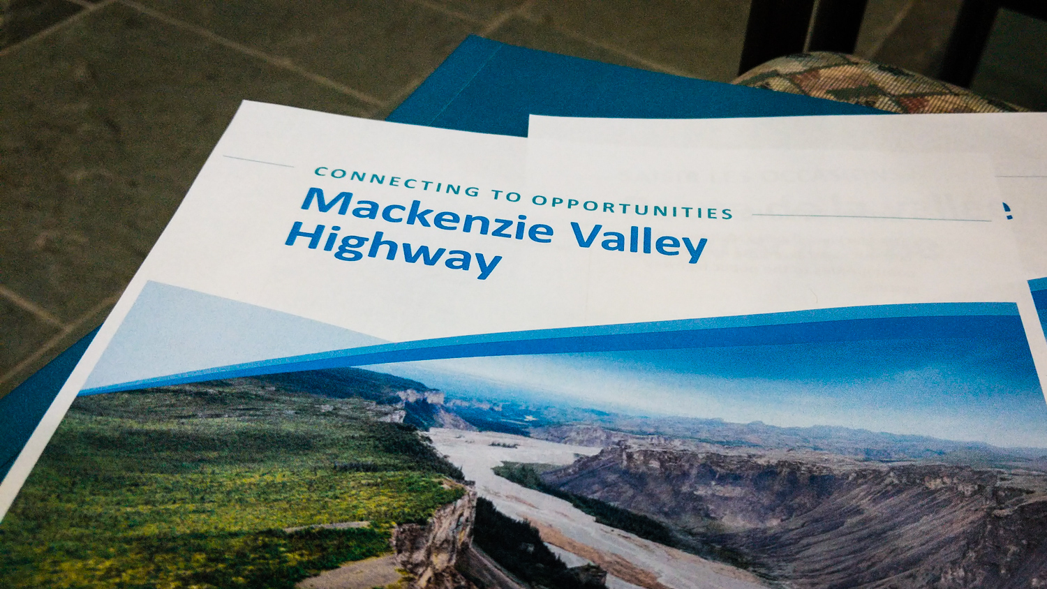 A handout document provided on June 27, 2018 provides an overview of the NWT's plan to build the Mackenzie Valley Highway