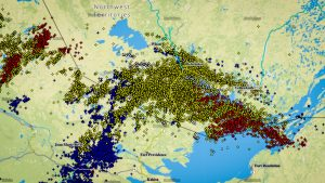 A map showing lightning across the NWT on the night of June 21, 2018