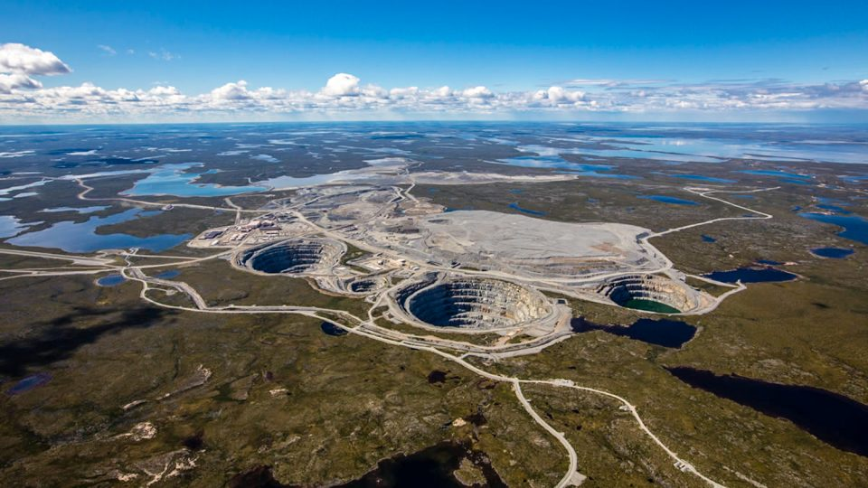 An aerial view of the Ekati diamond mine. Photo: Dominion Diamond Mines