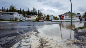 An area of flooded road following a water main break in Yellowknife on June 5, 2018