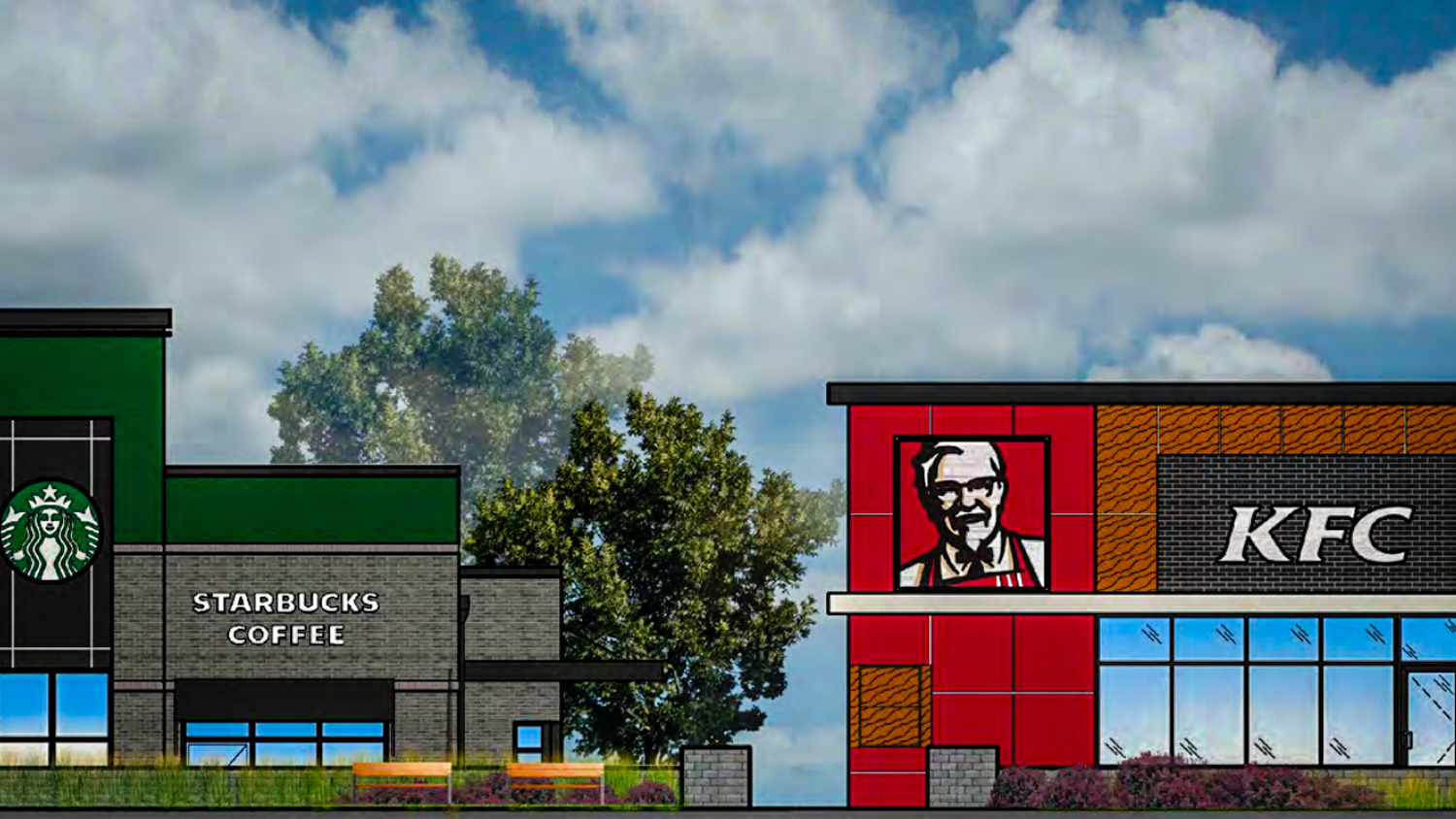 An illustration in a package presented to Yellowknife city councillors shows proposed designs for a Starbucks and KFC in the city