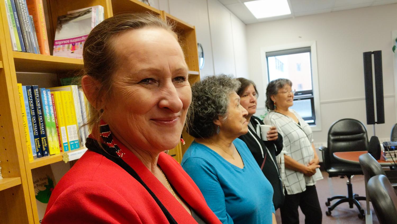 NWT employment minister Caroline Cochrane meets staff of the NWT Native Women's Association on June 27, 2018