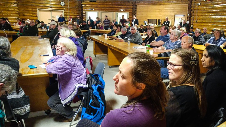 Residents attend a public meeting in Fort Smith to debate a report into the future of Aurora College