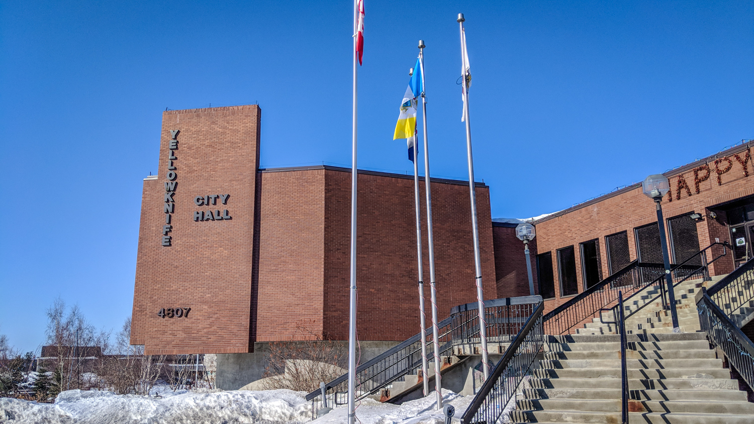 Yellowknife City Hall is pictured in April 2018
