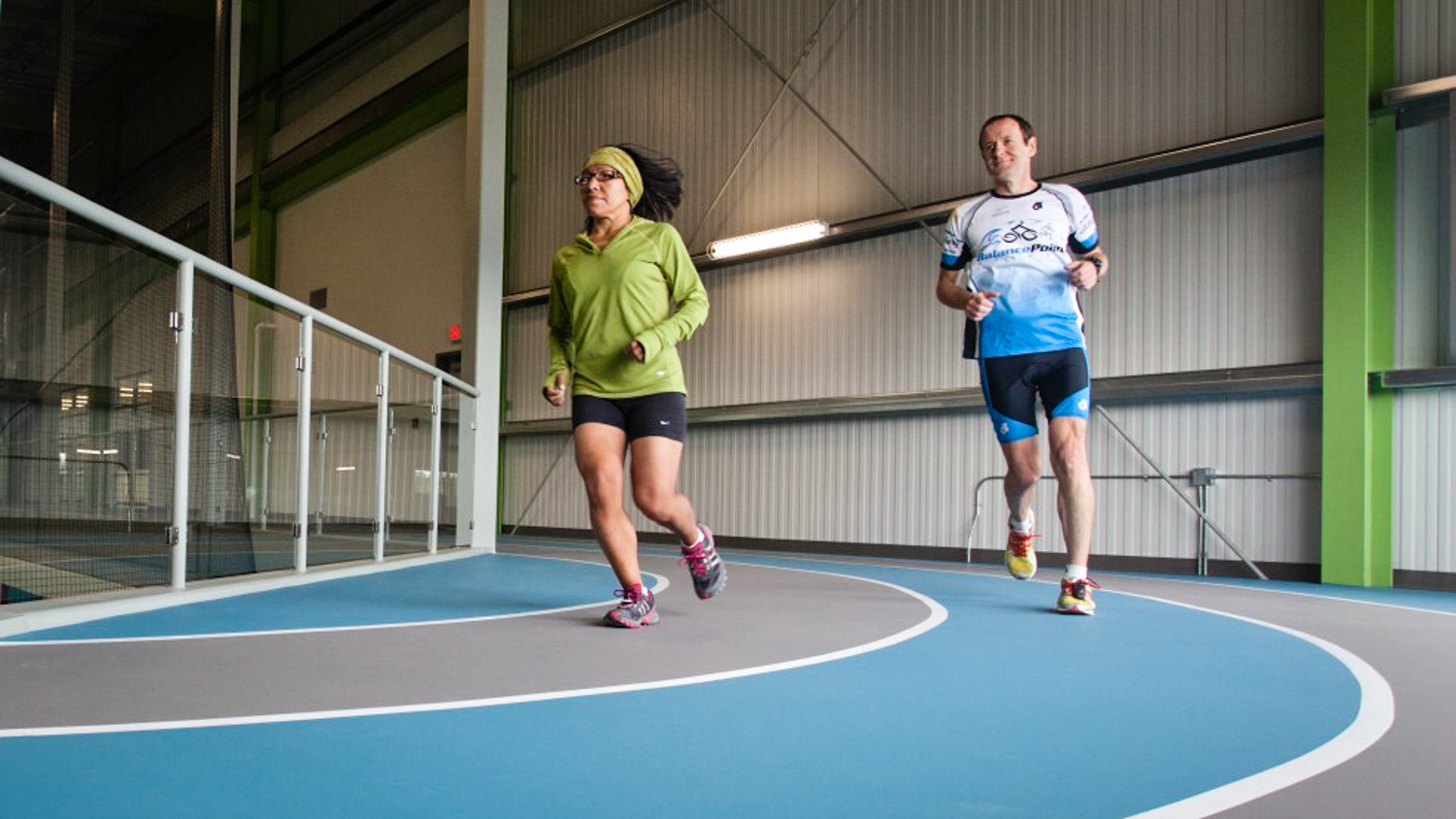 A file photo published by the City of Yellowknife shows people using the Fieldhouse jogging track. (Nobody in the image is accused of any wrongdoing.)