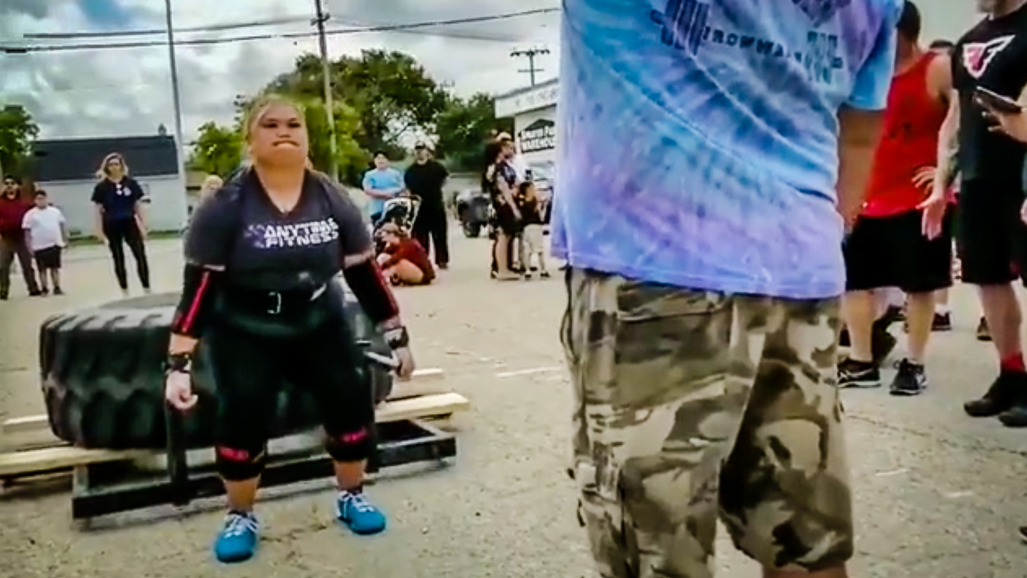 Sousanh Chanthalangsy-Bornilla, left, in a still from a video showing her compete at a strongwoman contest in Manitoba