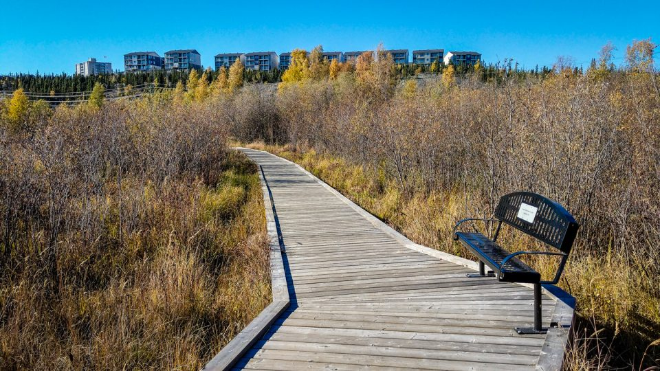 A bench on the Rotary Park boardwalk sits in front of Yellowknife's Summit housing development