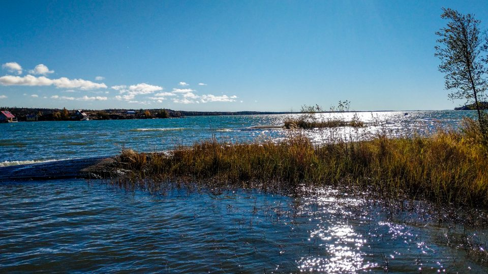 Yellowknife Bay is seen from the terminus of the city's Rotary Park boardwalk