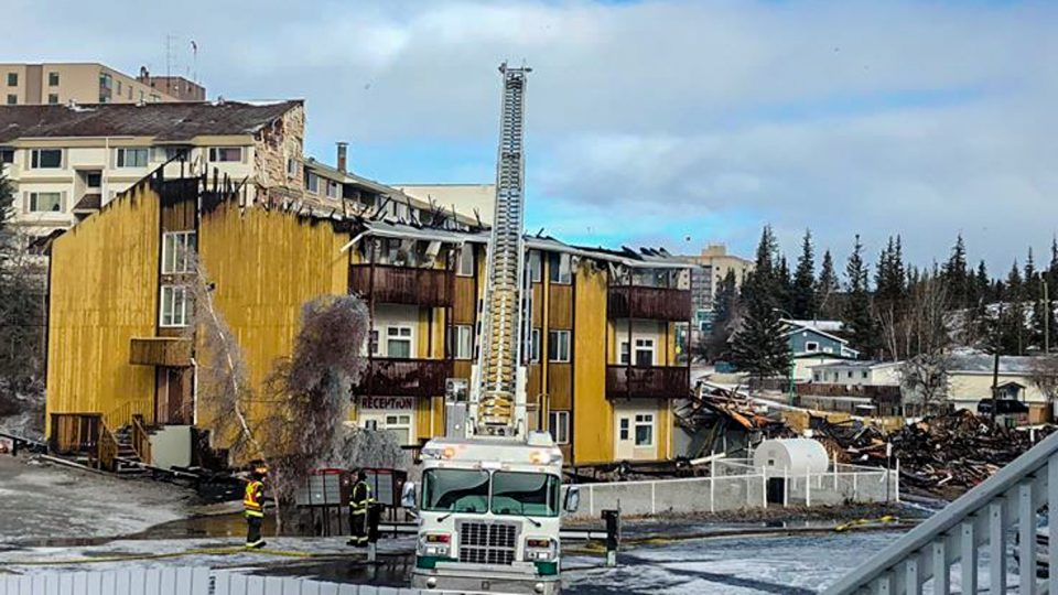A photo submitted by Janis O'Keefe shows the partially destroyed Rockhill apartment building after a fire on October 2, 2018