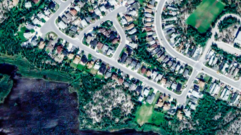 An aerial view of Yellowknife's Rivett Crescent, centre