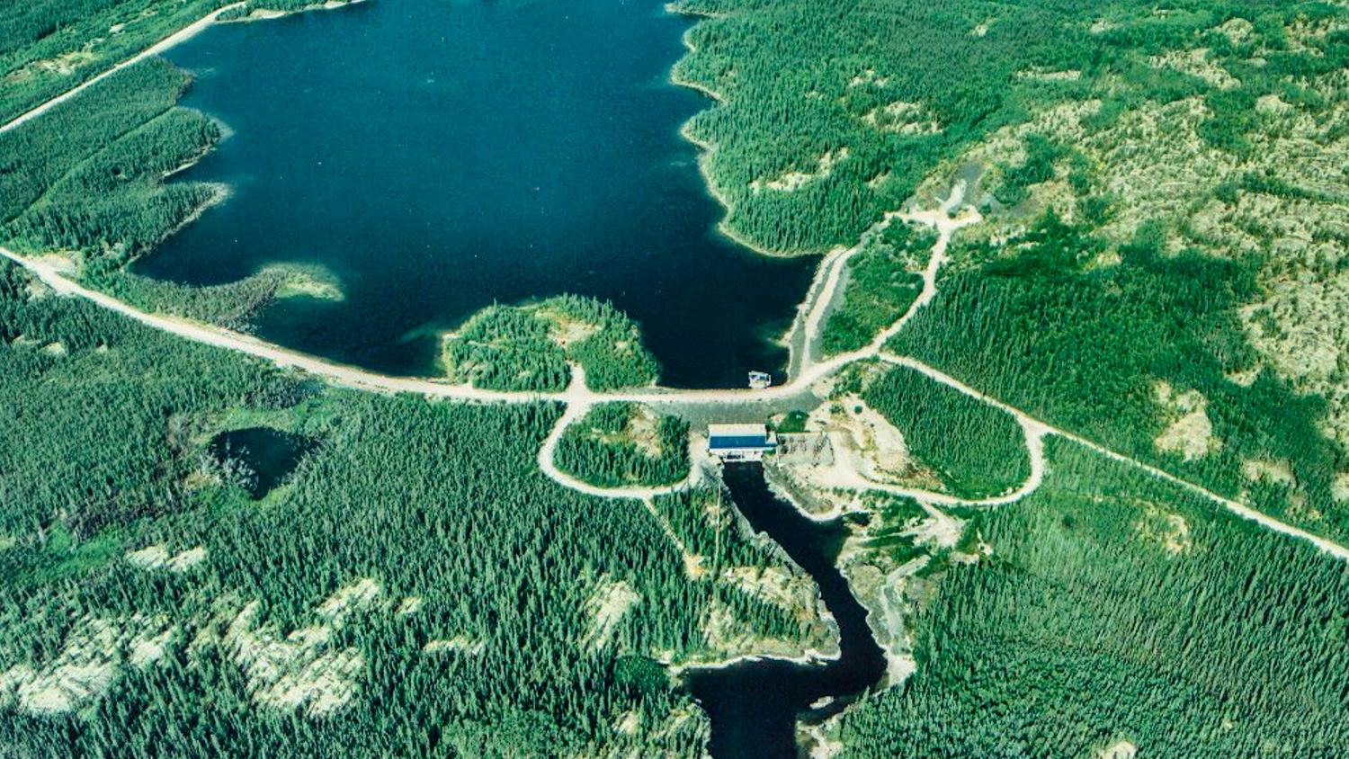 The Snare Forks hydro facility is seen in an aerial photograph taken in the early 2000s
