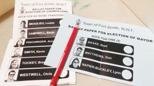Fort Smith 2018 municipal election ballot. Sarah Pruys/Cabin Radio