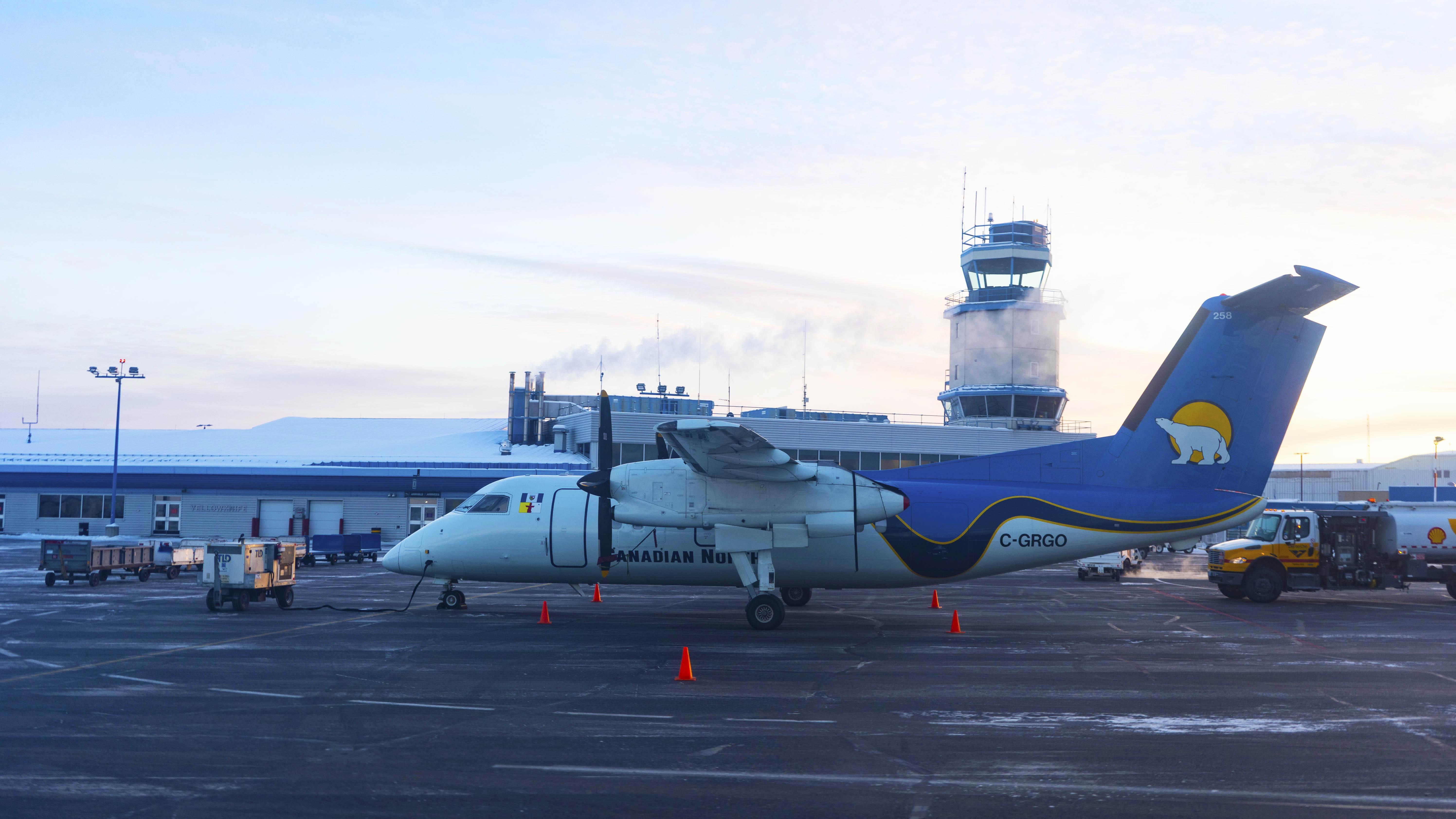 A Canadian North aircraft at Yellowknife Airport in November 2018