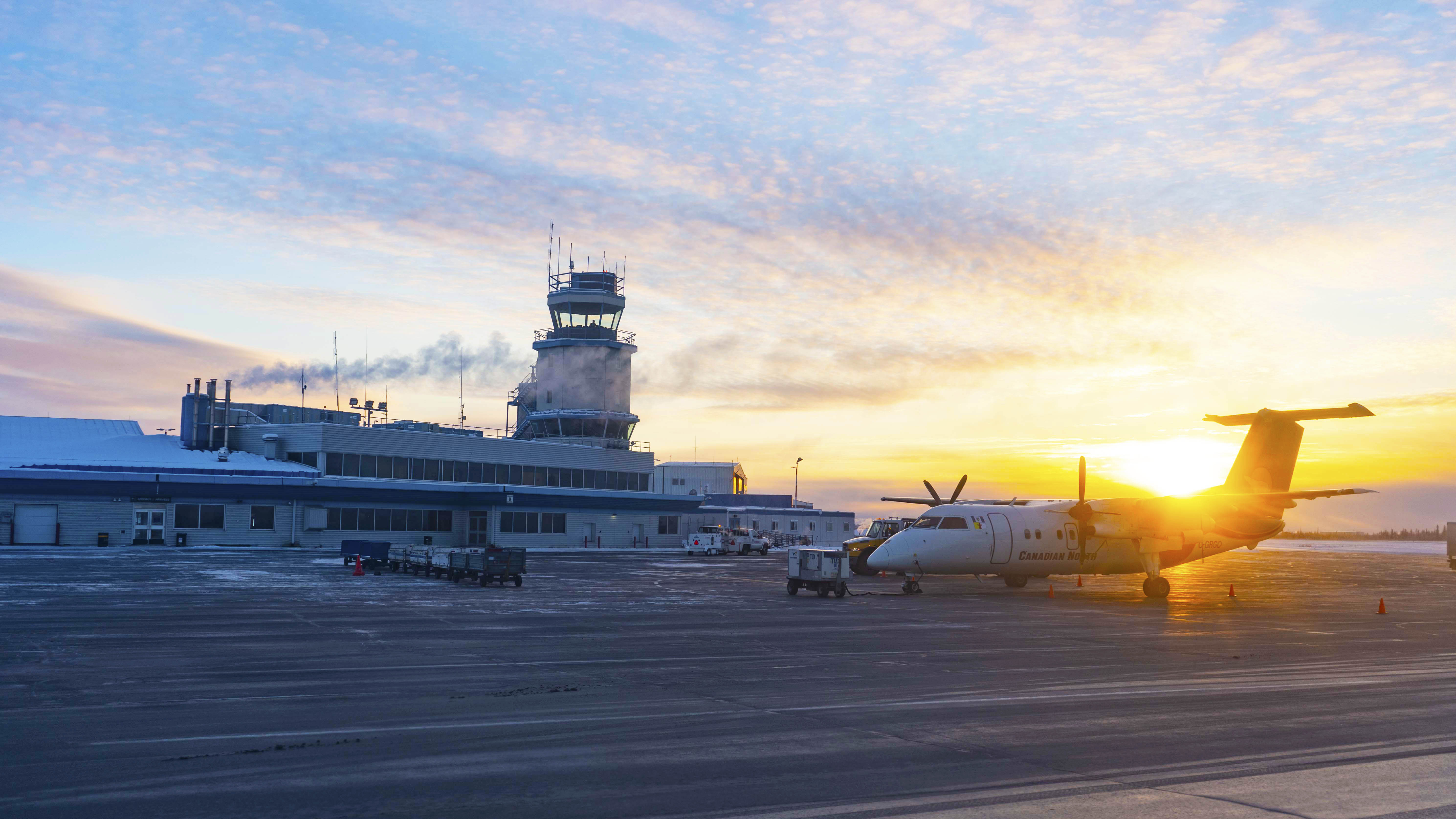 A file photo of Yellowknife Airport in November 2018. Sarah Pruys/Cabin Radio