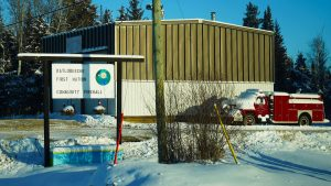 A file photo of the Kátł'odeeche First Nation firehall in November 2018. Sarah Pruys/Cabin Radio