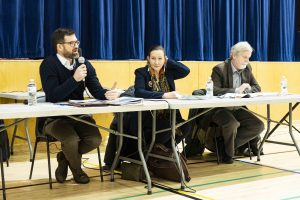 Chris Joseph, project lead for the Aurora College Foundational Review, left, Caroline Cochrane, education minister, and Louis Sebert, Thebacha MLA attend a public meeting to discuss the college on November 19. Sarah Pruys/Cabin Radio