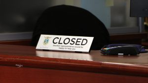 A 'closed' sign at Yellowknife's City Hall