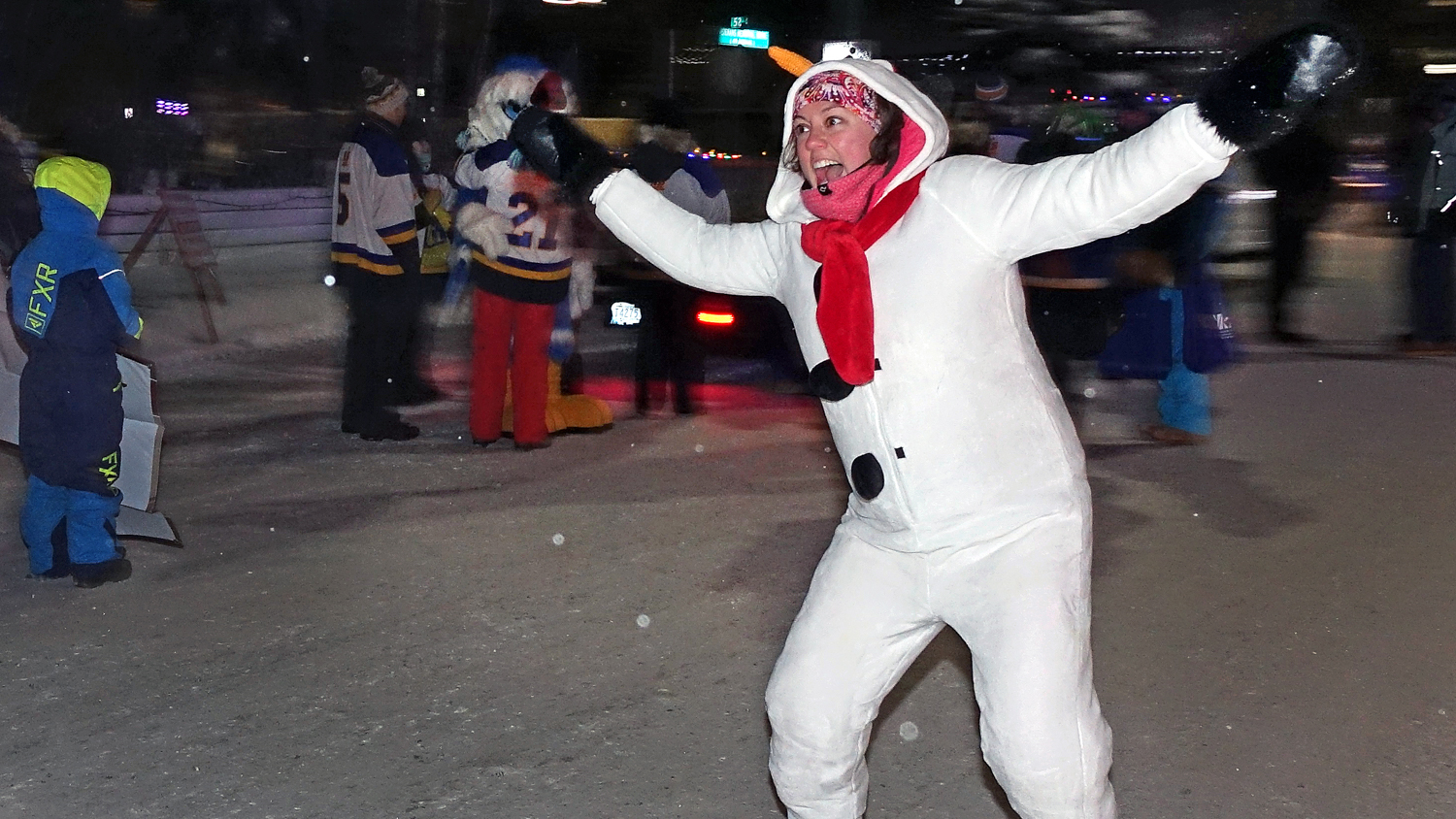 Mayor Rebecca Alty dressed as a snowman at Yellowknife's 2018 Santa Claus Parade