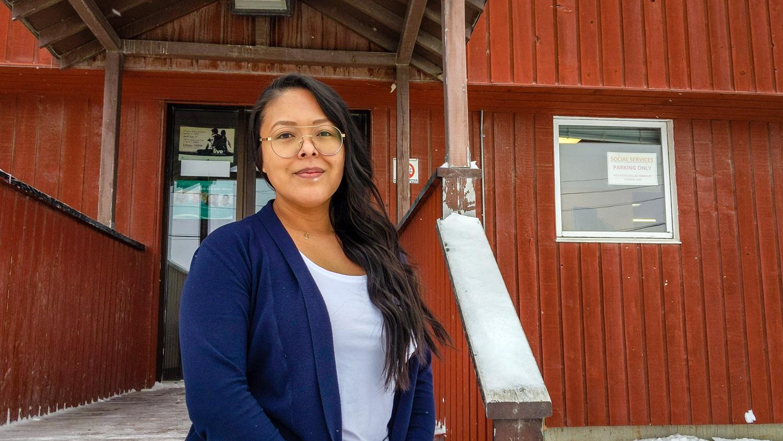 Social worker Charlotte Mackenzie outside her office in Behchokǫ̀