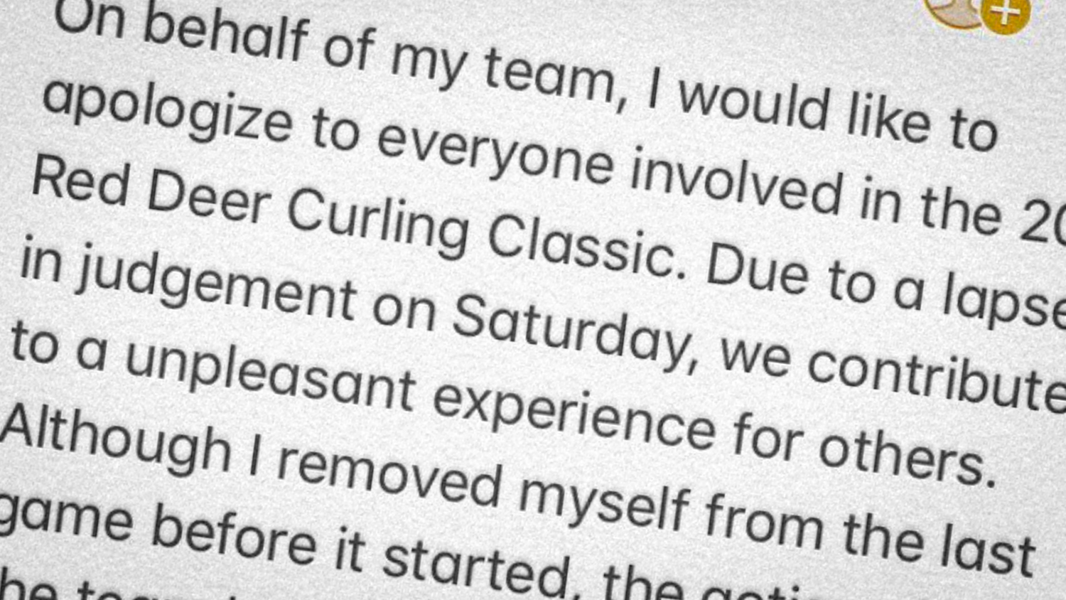 Text is seen from an apology tweeted by Jamie Koe following his rink's expulsion from the 2018 Red Deer Curling Classic