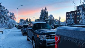 A file photo of a side street in downtown Yellowknife in December 2018. Sarah Pruys/Cabin Radio