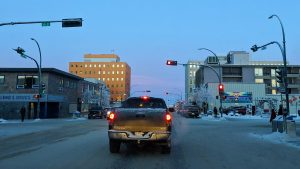 A file photo of downtown Yellowknife in December 2018. Sarah Pruys/Cabin Radio