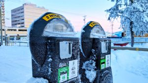 A file photo of parking meters in downtown Yellowknife in December 2018. Sarah Pruys/Cabin Radio
