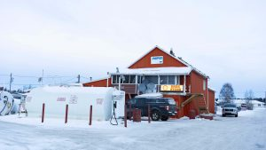 A file photo of the DKDC Store in Fort Resolution in December 2018. Sarah Pruys/Cabin Radio